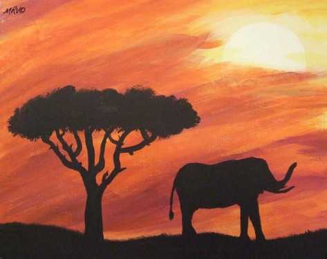 Elephant Sunset - Unframed1